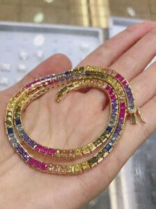 Tennis Chain SOLID Rainbow Diamond Necklace MENS WOMEN