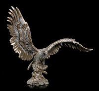 Adler Figur mit ausgebreiteten Flügeln - bronziert - Raubvogel Seeadler Falke