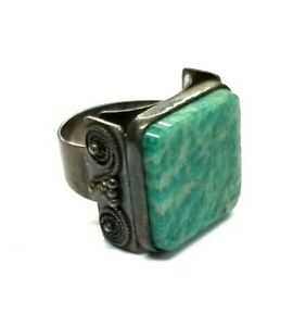 Blue & White Stone Russian/Soviet Union Silver Ring Hallmark of Hammer & Sickle