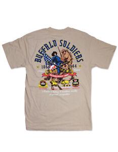 Buffalo solider T shirt Buffalo Solider short sleeve T shirt US ARMY TEE TAN
