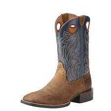 Ariat 10025130 Men Sport Sidebet Distressed Brown/Solid Blue Western  Boots