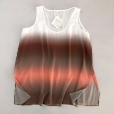 MARLA WYNNE Women's 3X Tank Top Sheer Layers Ombre Sleeveless White Brown NWT