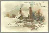 B. & M. Store S. Bennett Peoria Illinois Lot of Two Victorian Trade Cards Winter