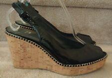 Stuart Weitzman Black Patent Cork Platform Wedge Slingback Sandals NEW Size 9.5