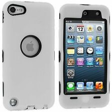 Hybrid Hard Silicone Case for iPod Touch 5th Gen - Black/White