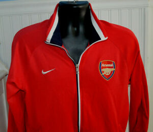 NIKE ARSENAL FC Zip Up JACKET Mens Size Large Red/white/blue collar FOOTBALL