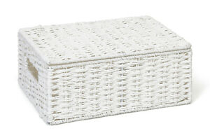 Hamper Storage Basket White Medium Paper Rope Box With Lid