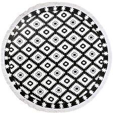 Brela 100%Cotton Terry Velour 150cm Round Beach Towel With White Tassels