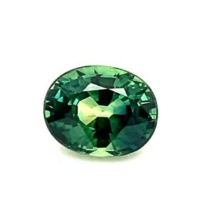 1.24ct Bluish Green Sapphire, Oval from Australia, IF, Natural Gemstone *Video*