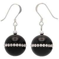 Ohrringe Ohrhänger aus Onyx & Zirkonia rundum, 925 Silber, schwarz-weiß, Damen
