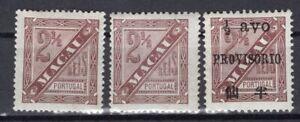 MACAU MACAO PORTUGAL 1893 NEWSPAPER STAMP Sc. # P 4a/4b 12 1/2 AND P 5 13 1/2 MH