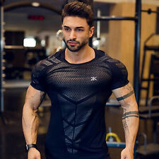 2020 Men Compression Slim Fit Top Short Sleeve Gym T-Shirt Running Fitness Sport