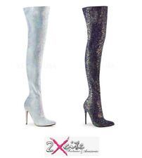 """PLEASER COURTLY 3015 THIGH HIGH GLITTER BOOTS 5"""" STILETTO HEEL POINTED TOE"""