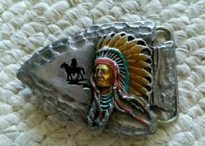 1988 Siskiyou CHIEF JOSEPH Belt Buckle Arrowhead & Headdress Design, Model J80