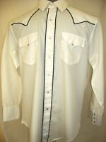 Mens Large 16.5 x 34 SILVER SPUR White Western Shirt Pearl Snap Closure PREOWNED
