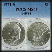 1971-S Silver $1 Eisenhower Ike Dollar PCGS MS65 BU Uncirculated Unc Gem Coin