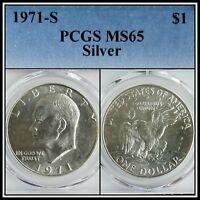 1971-S Silver $1 Eisenhower Ike Dollar PCGS MS65 BU Uncirculated Unc Gem Coin
