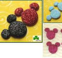 40 pc x Padded Shiny Glittered Mouse Appliques for Micky Minnie/Bows/Cards ST15