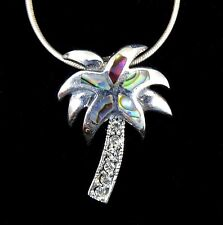 Handcrafted Solid 925 Sterling Silver Paua Abalone Shell PALM TREE Slide Pendant