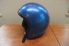 Vintage Sterling - Cougar  Blue Metal Flake Motorcycle Helmet - 1970's !!