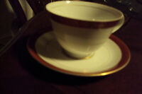 RUBIYAT SEYEI # 467 JAPAN CUP & SAUCER BURGUNDY BAND