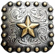 Western Decor (6) Engraved Gold Star 1-3/8 Sq. Conchos