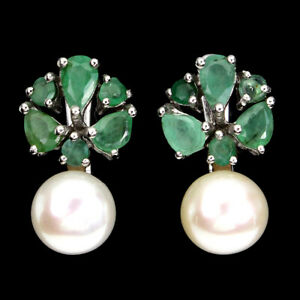 Unheated Pear Emerald 5x3mm White Pearl 925 Sterling Silver Earrings