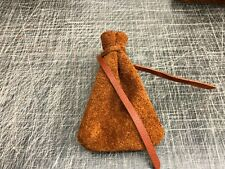 Medieval LarpSCA Reenactment Old Tobacco Leather DRAWSTRING MONEY POUCH BAG