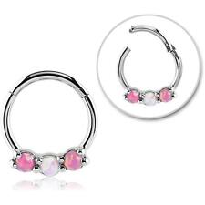 "Hinged Septum Clicker Hoop Nose Ring Ear Cartilage Pink Opal 3/8"" 16G"