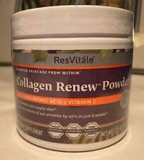 ResVitale Collagen Renew Powder Hyaluronic Acid Vitamin C 2.75 Oz Expired 2/20