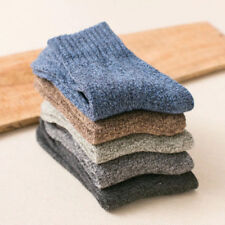 5 Pairs Mens Wool Cashmere Thick Winter Socks Warm Casual Soft Solid Colors