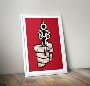 Roy Lichtenstein Gun Print, Pop Art Print, Gun Poster, Wall Art