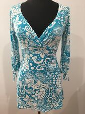 Jane Norman Designer Hawaii Blue Print Rock Roll Go Go Girl Sexy Dress Sz 12 14