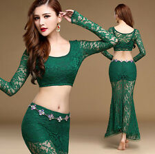 Womens Lace Oriental Belly Dance Costume Set Indian Dancing Crop Tops Long Skirt