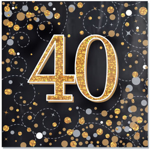 Black & Gold Sparkling Fizz 40th Birthday Napkins - Pack of 16