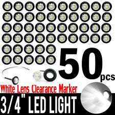 "50x White 12V 3/4"" Round LED Side Marker Clearance Light For Truck Trailer Boat"