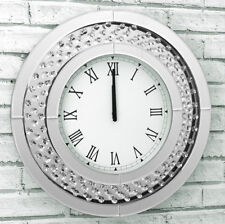 Glitz Glam Floating Crystal Mirrored Glass Statement Round Wall Clock 50cm Diam.
