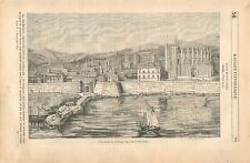 Panorama de la ville de Palma de Majorque Îles Baléares Espagne GRAVURE 1837