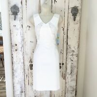 Antonio Melani Size 4 Woman's White Sleeveless Sheath Career Dress