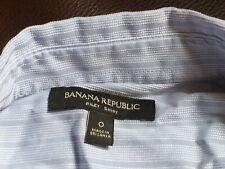 Banana Republic UK size 6 equiv pale blue ruffled, striped dress business shirt