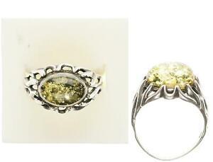 Bernstein Ring, Silber 925, 4,33g, 61 Ringgröße sehr guter Zustand