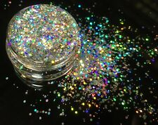 10ml Holographic Silver Chunky Glitter Pot-Nail Face Eye Body Festival Cosmetic