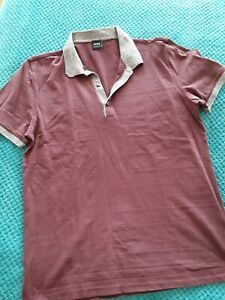 BOSS  Hugo Boss regular fit collared short sleeve top in burgendy size L ⭐