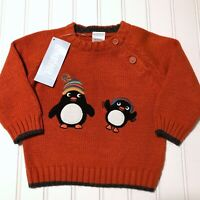 NWT Gymboree Penguin Pals Knit Pullover Sweater Baby Boys 6-12 Months NEW!