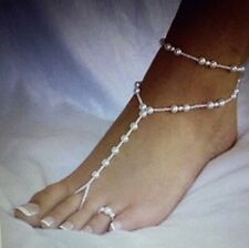 Bracelet & Matching Toe Ring Cream Beaded Stretchy Fully Adjustable Ankle