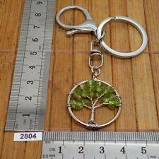 Très beau porte-clés arbre de Vie en PERIDOT naturel mousqueton et rond