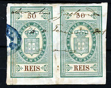 MOZAMBIQUE 1884 (??) 50 Reis Revenue Stamps A PAIR IMPERFORATE VFU