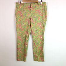 Lauren Ralph Lauren Womens Pants Stretch Green Pink Paisley Floral Size 12