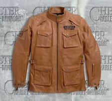 Harley-Davidson Men's Wheeler Waterproof Brown Leather Jacket Coat 97185-18em L