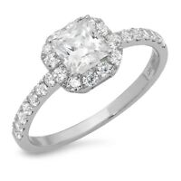 1.5 Princess Cut Halo Wedding Bridal Engagement Anniversary Ring 14k White Gold